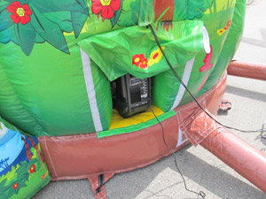 Sound system for the bouncy castle